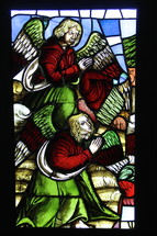 Stained glass window of angels