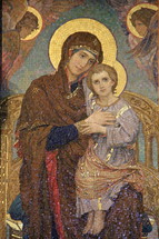 Mary and Jesus tile mosaic