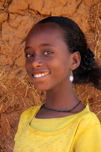 Smiling Ethiopian teen girl in Africa