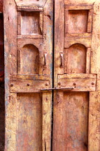 Heavy oriental hand made rustic wooden doors