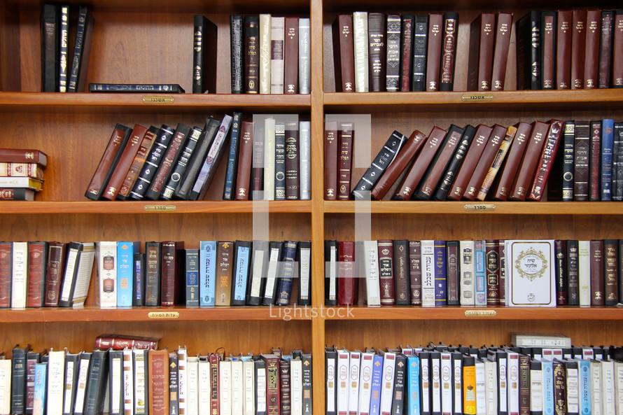 Bookshelves of Hebrew Torah at the Wailing Wall