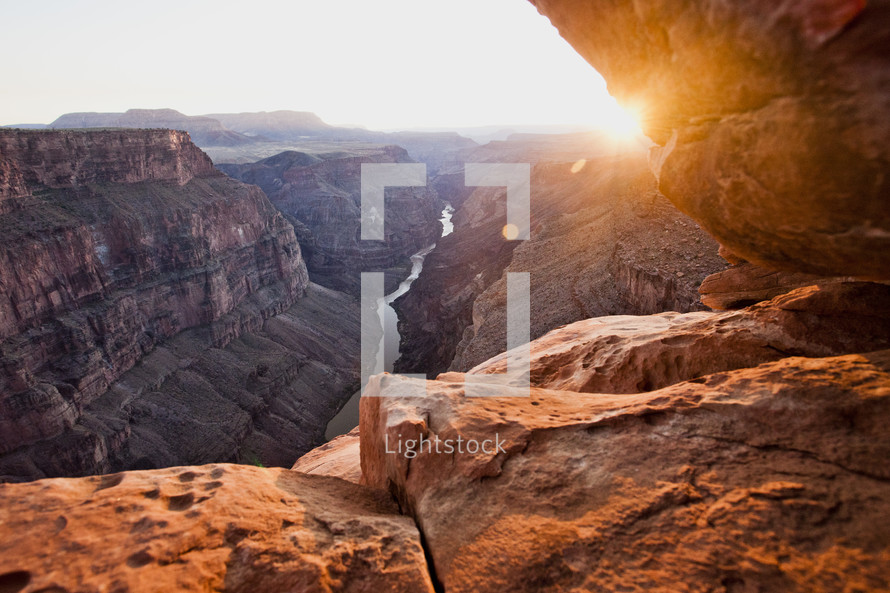 sunset over a canyon