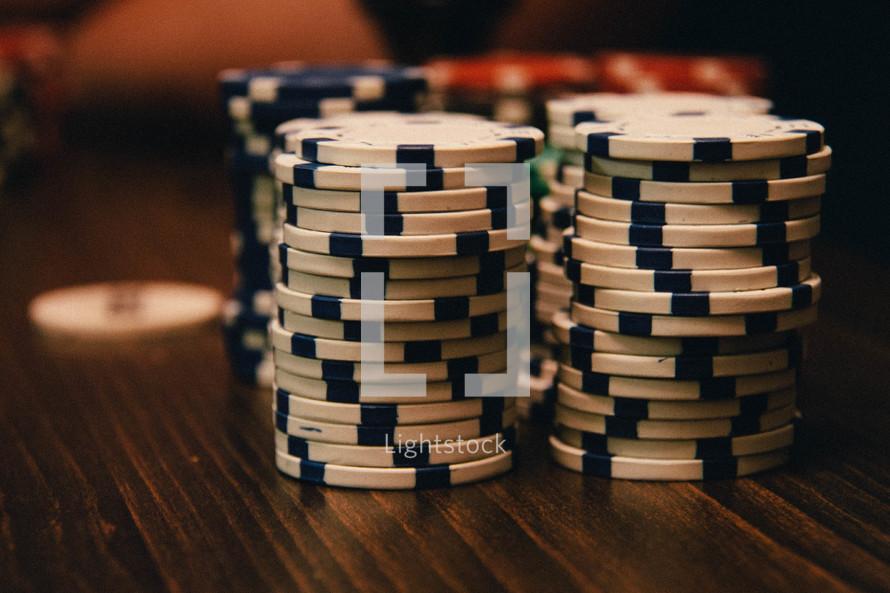 stack of tokens for poker