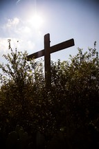 cross in tall bushes