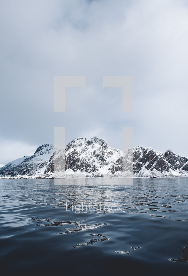 snowy island mountains