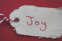 """A Christmas gift tag reading """"Joy,"""" on a red background."""
