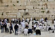 Men praying at the Western Wall