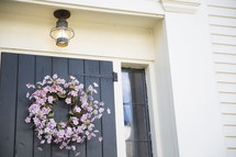 floral wreath on a front door