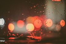 Red bokeh lights