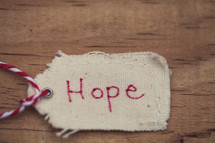 "A Christmas gift tag labeled ""Hope"" on a wood table."