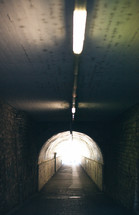 ceiling lights in a tunnel