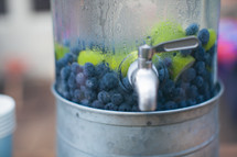 blueberries and limes in a pitcher of drink