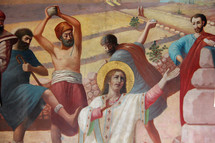 Painting depicting the stoning of Stephen.