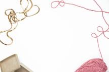 gift box and yarn