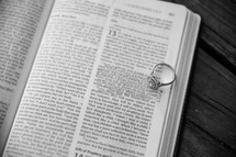 engagement ring on a Bible verse