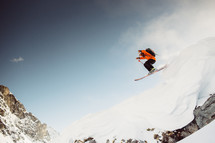 skiing down a slope