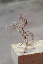 Italian Murano Glass Horse Figurine Sitting on a Brick