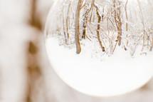 snowy scene in a glass orb