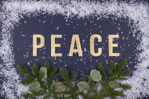 word peace and snow border
