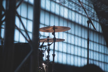 cymbals on a drum set