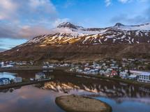 coastal homes along a winter shoreline
