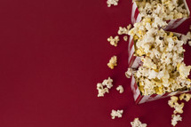 popcorn boxes on a red background