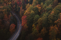 aerial view over a road through a fall forest