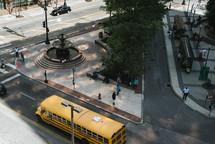 school bus on a city street