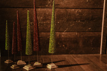 green and red Christmas tree decorations