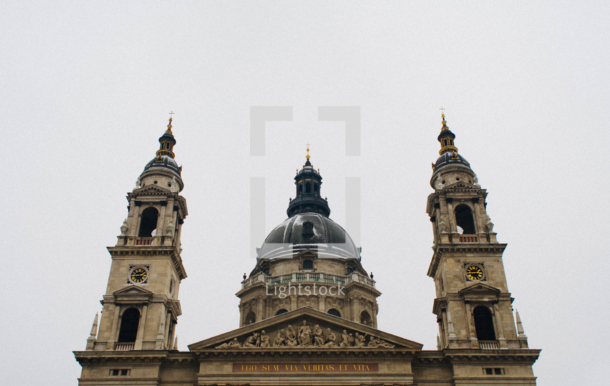 bell towers, steeple, dome, cathedral, sky, sculptures, clock tower