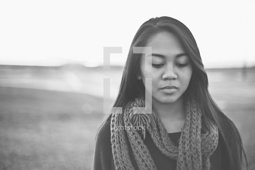 A sad young woman.