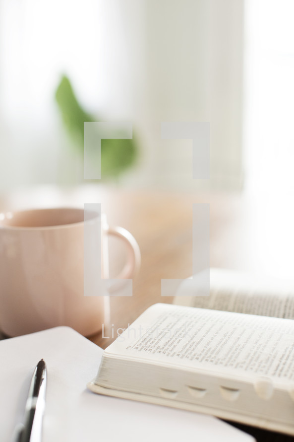 Morning light on an open Bible and notebook next to a coffee cup.