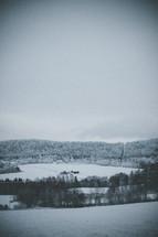 winter scene with barn