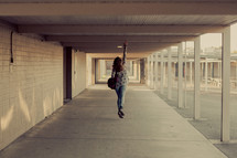 Back to school, joy, jump, campus, student, teenager girl, hallway, youth