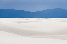 White Sand Dunes and Blue Mountain Silhouette