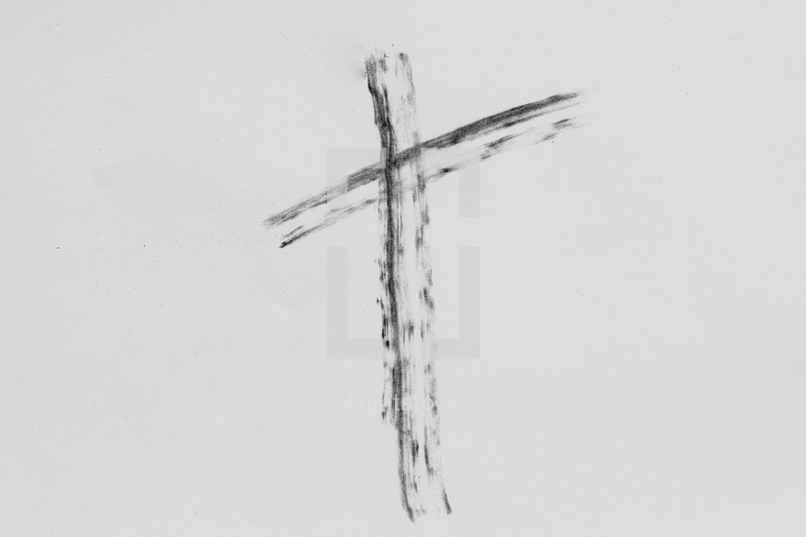 Cross drawn with Ashes for Ash Wednesday