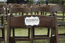 reserved chair at a wedding