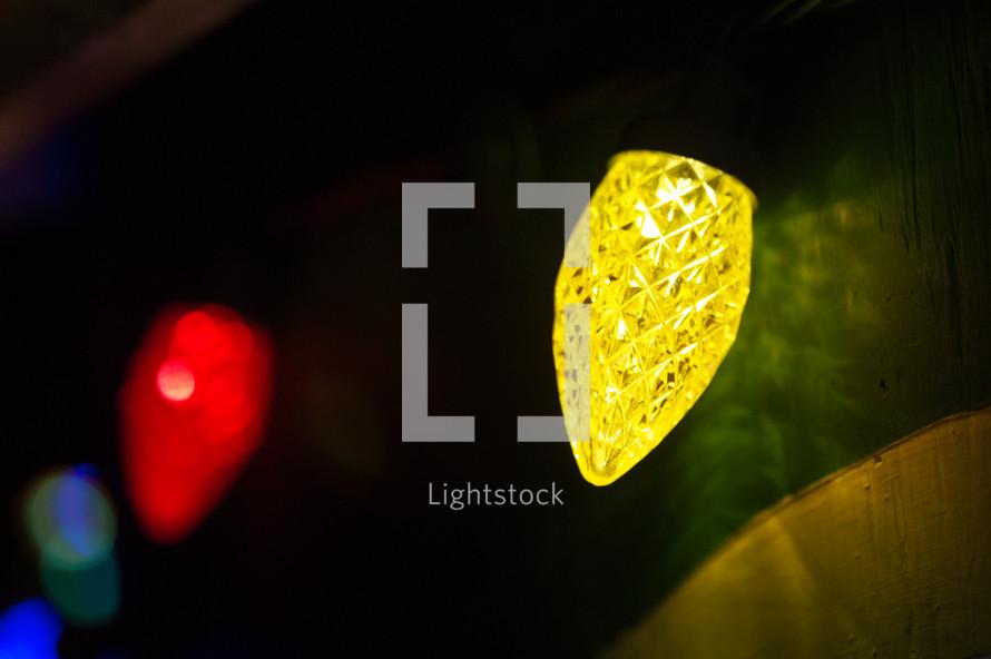 glowing colorful Christmas lights