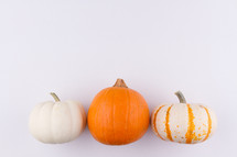 row of three pumpkins on a white background
