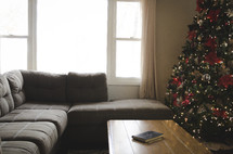 leather bound Bible on a coffee table and Christmas tree in the background