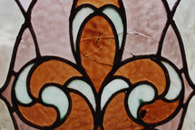 orange and white stained glass window