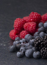 raspberries, blueberries, and blackberries