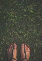 flip flops on grass
