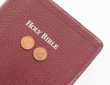 Bible and Canadian coins