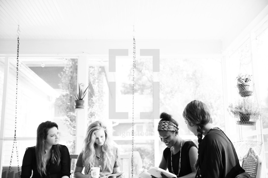 women in conversation at a Bible study