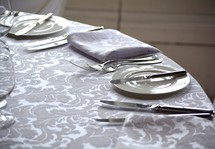 round table with place settings
