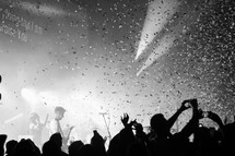 confetti falling at a concert