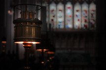 lamps in a church