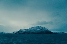 ocean, water, snow, mountain peaks, mountains, outdoors, sky
