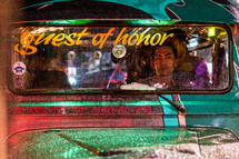 guest of honor on the windshield of a cab